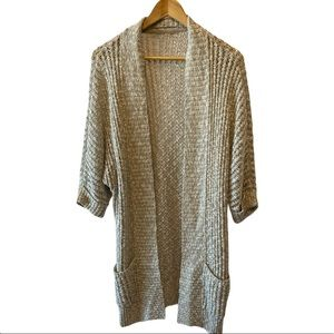 Light Grey Loose Knit Open Cardigan With Pockets L